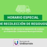 Este viernes santo NO habrá recolección de residuos en Urdinarrain