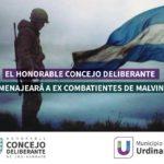 En el Concejo Deliberante Urdinarrain homenajearan a veteranos de guerra de Malvinas