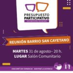 Hoy a las 20 horas Asamblea del Presupuesto Participativo en el Barrio San Cayetano